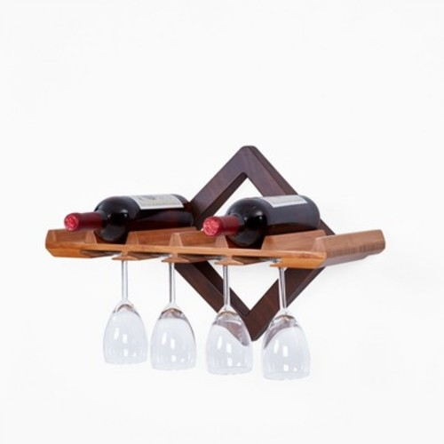 Wall Shelf with Wine Bottle and Hanging Stemware Organizer