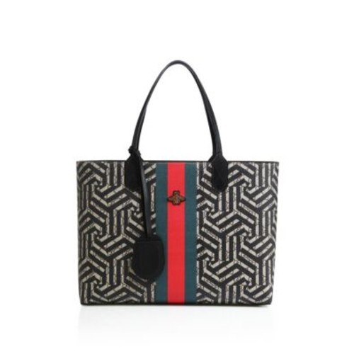 GUCCI Medium Zig Zag Leather Tote
