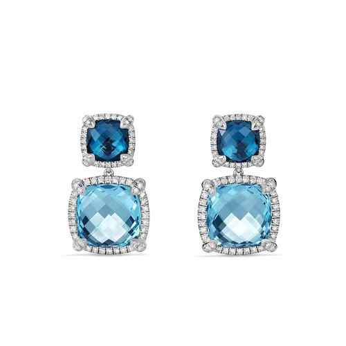 Chtelaine Blue Topaz Double-Drop Earrings with Diamonds
