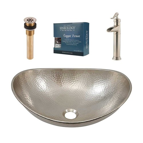 SINKOLOGY Pfister All-In-One Hobbes Design Kit Nickel Vessel Sink with Brushed Nickel Single Hole Vessel Faucet