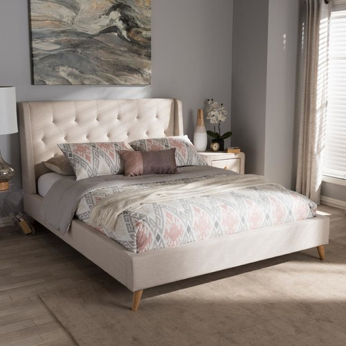 Baxton Studio Adelaide Beige Fabric Upholstered King Platform Bed