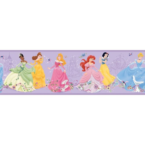 Inspired By Color Borders Dancing Princesses Border, Purple With Pink/Blue/Green/White/Red/Brown