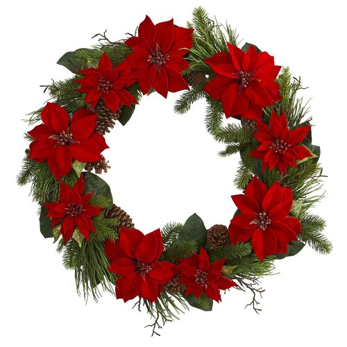Nearly Natural 36 in. Poinsettia and Pine Wreath