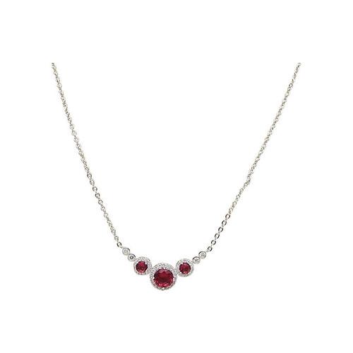 CZ & Ruby Glass Necklace