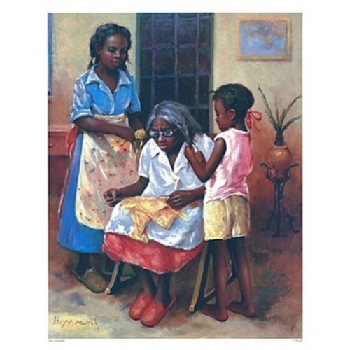 ''Three Generations (mini)'' by Hulis Mavruk African American Art Print (10 x 8 in.)