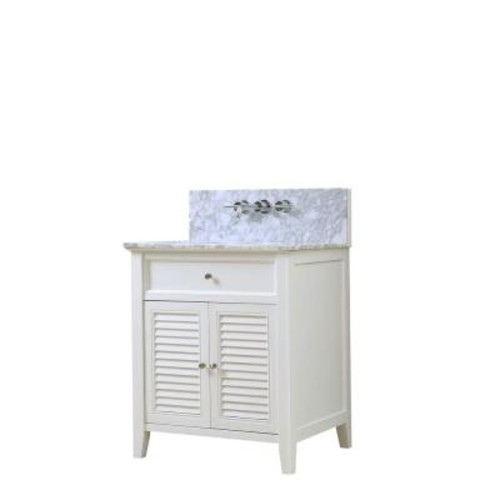 Shutter Premium 32 inch White Vanity with Carrara White Marble Top [32S12-WWC-WM]