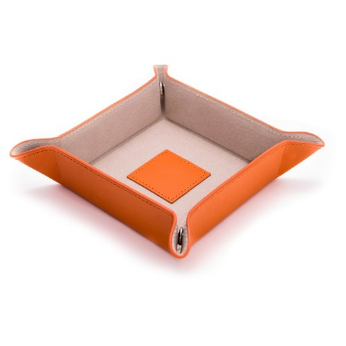 Leather Valet Tray, Orange