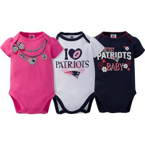 Gerber Infant Girl's New England Patriots 3-Piece Onesie Set