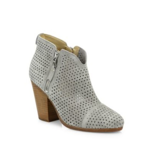 RAG & BONE Margot Perforated Suede Zip Booties