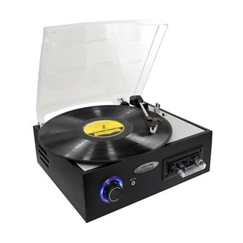 Pyle PTTC4U Multifunction Turntable With MP3 Recording/USB to PC/Cassette Playback, 33/45/78 RPM