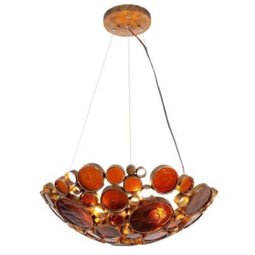 Varaluz Fascination 3-Light Kolorado Pendant with Amber Glass
