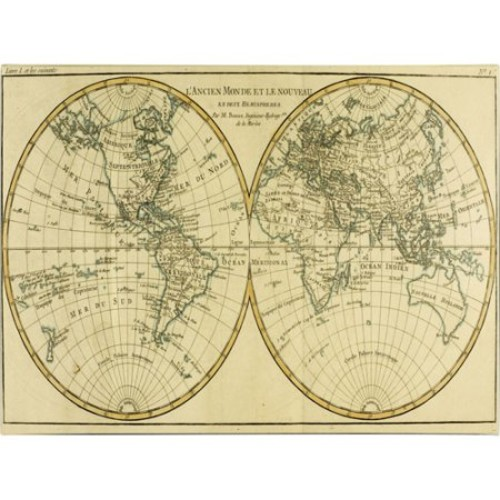 World Map in Two Hemispheres by Charles Bonne, 10 by 19-Inch Canvas Wall Art [10 by 19-Inch]