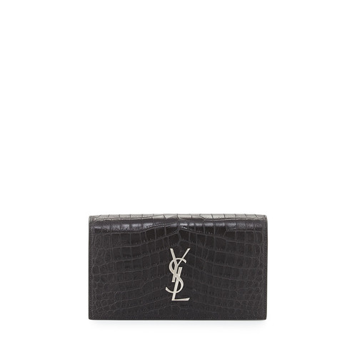 SAINT LAURENT Croc-Embossed Leather Clutch Bag, Black