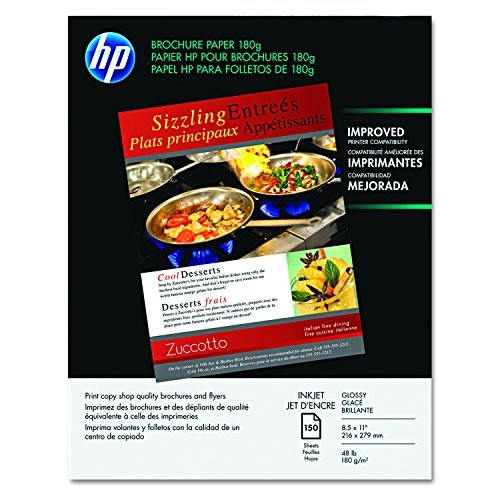 HP Brochure Paper, Glossy (150 Sheets, 8.5 x 11 Inches, 180 g) 92 Brightness Q1987A