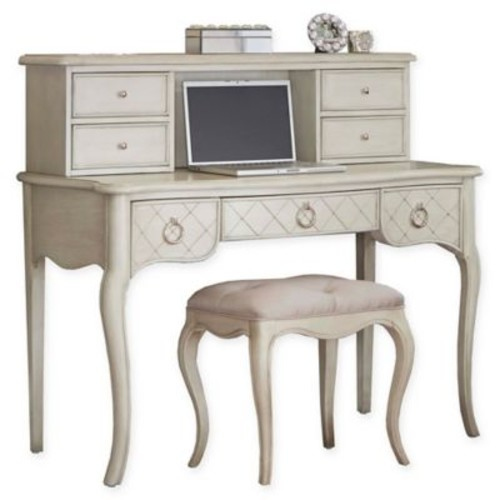 Hillsdale Kids and Teen Angela Writing Desk with Hutch and Desk in Opal Grey