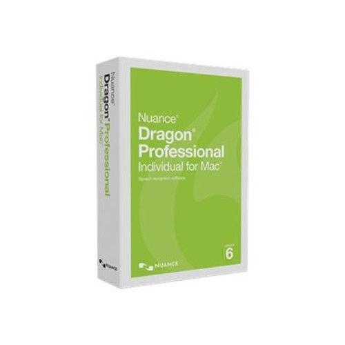 Nuance Communications Dragon Professional Individual for Mac - (v. 6) - box pack (upgrade) - 1 user - upgrade from ver. 4/5 - DVD - Mac - US English (S681A-K1A-6.0)