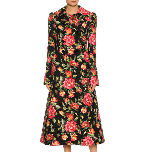 DOLCE & GABBANA Rose-Print Double-Breasted Coat, Black Pattern