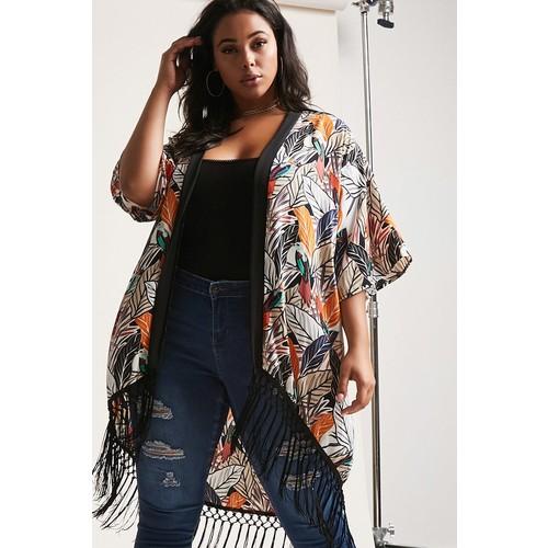Plus Size Abstract Print Fringe Kimono