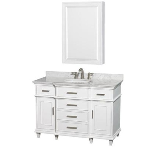 Wyndham Collection Berkeley 48 in. Vanity in White with Marble Vanity Top in White Carrara, Undermount Round Sink and Medicine Cabinet