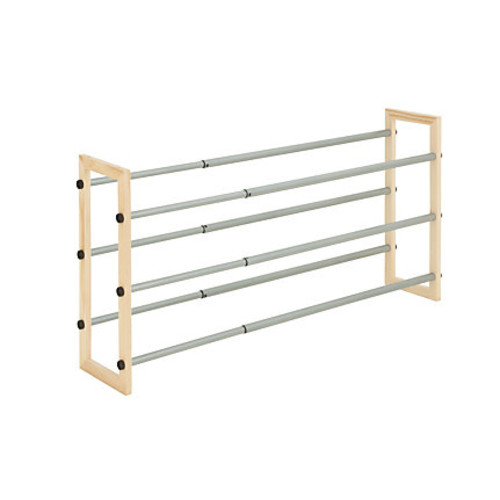 Honey-Can-Do SHO-01372 3-Tier Expandable Stackable Shoe Rack, Metal and Wood