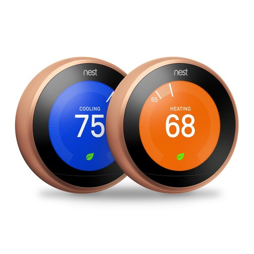 Nest 3rd Generation 7 Day Programmable Learning Wi-Fi Thermostat, Copper, (2 - Pack)