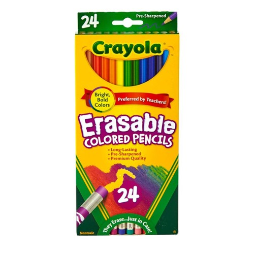 Crayola Erasable Color Pencils, Assorted Colors, Pack Of 24