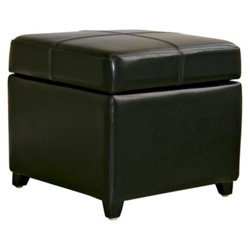 Full Leather Storage Cube Ottoman Black - Baxton Studio