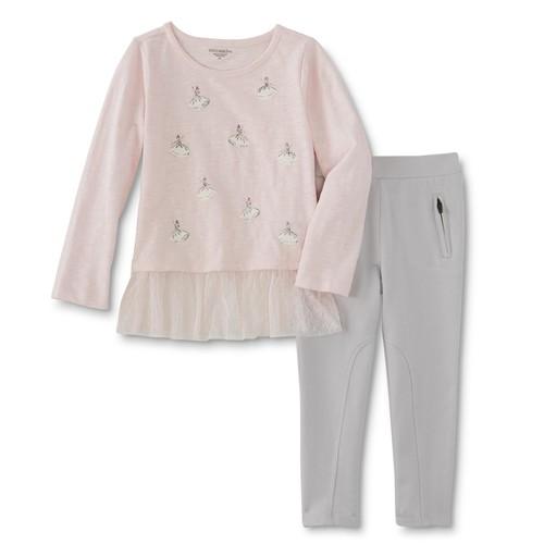 Toughskins Infant & Toddler Girls' Embellished Shirt & Leggings - Ballerina [Age : Toddler]