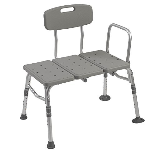 Plastic Tub Transfer Bench with Adjustable Backrest, Gray [3 Backrest]