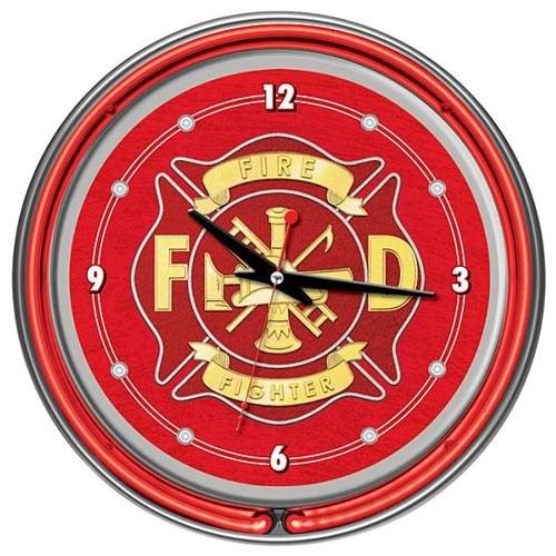 Trademark Global Fire Fighter 14 Inch Neon Wall Clock