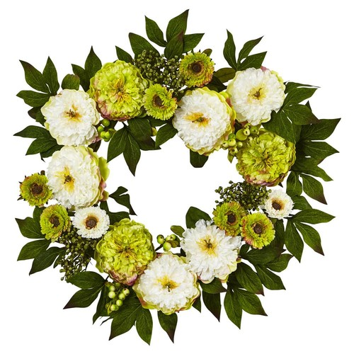 Nearly Natural 24 in. Peony Mum Wreath