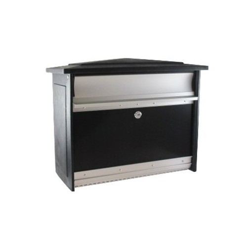 Gibraltar Mailboxes Mailsafe Medium Capacity Aluminum Black, Wall-Mount Mailbox, MSK00000 [Black]