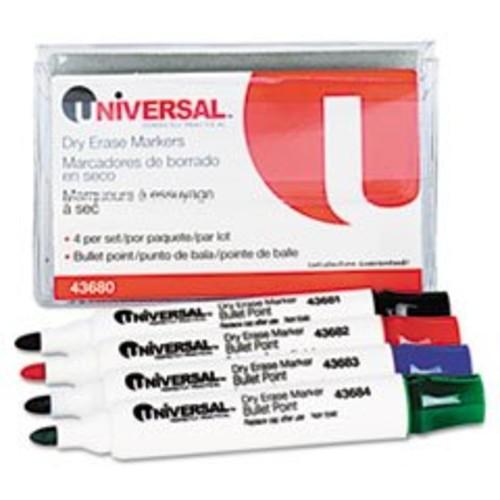 Universal Dry Erase Whiteboard Markers, Chisel Tip, Blue, Dozen, DZ - UNV43653