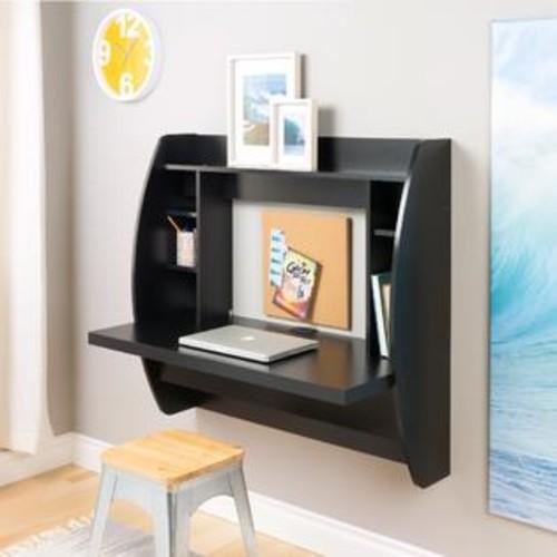 Prepac Floating Desk With Storage, Black