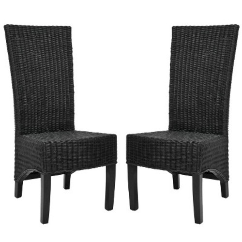 Siesta Wicker Dining Chair Black (Set of 2) - Safavieh