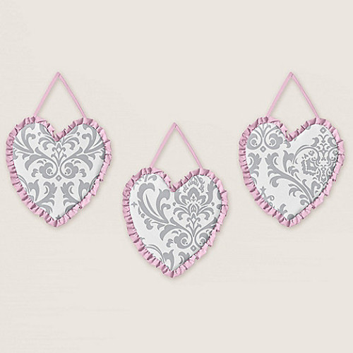 Sweet Jojo Designs Elizabeth 3-Piece Wall Hanging Set in Pink/Grey