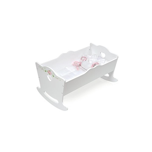 Badger Basket Rose Doll Cradle Toy, White