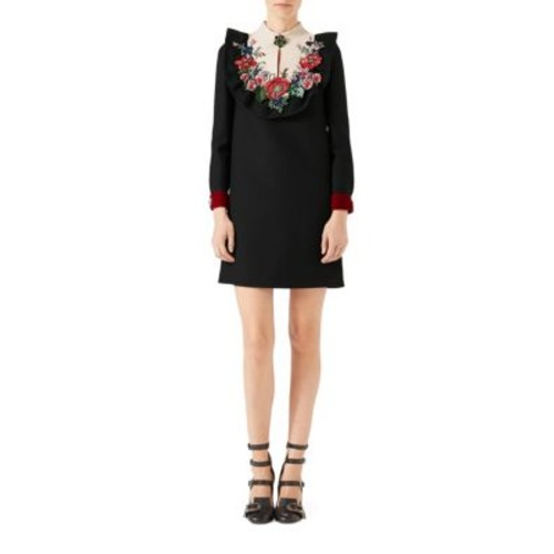GUCCI Embroidered Silk Wool Dress