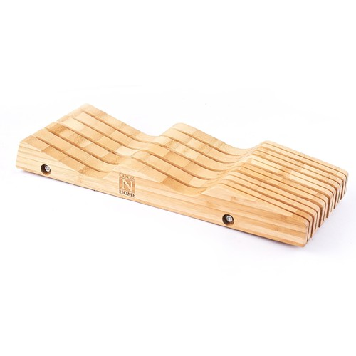 Cook N Home Bamboo Knife Storage In-Drawer Block