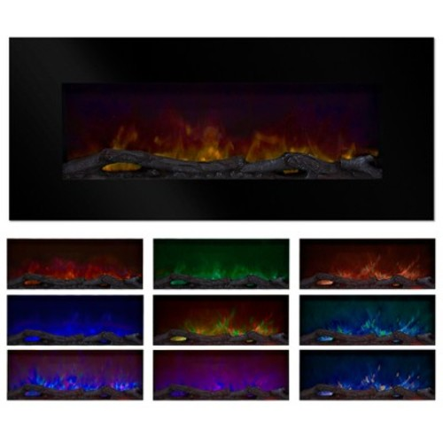 Northwest 50 in. Wall-Mount Color Changing LED Electric Fireplace in Black
