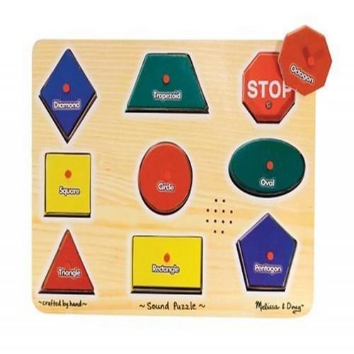 Melissa & Doug Shapes Sound Puzzle - Wooden Peg Puzzle With Sound Effects (9 pcs)