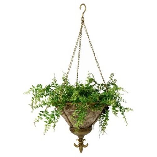 Sofia Hanging Fabric Planter With Palmetto Mocha Liner - Gold - Bombay Outdoors
