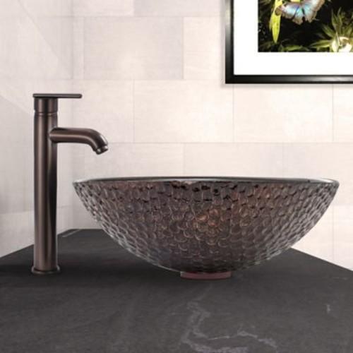 Vigo Copper Shield Glass Circular Vessel Bathroom Sink