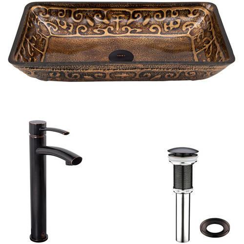 VIGO Rectangular Golden Greek Glass Vessel Bathroom Sink and Milo Faucet Set in Antique Rubbed Bronze Finish