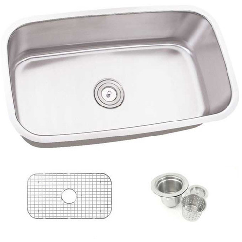 31.5-inch Single Bowl Undermount Stainless Steel Kitchen Sink Combo