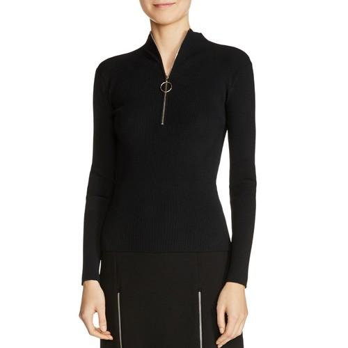 MAJE Maria Zip-Detail Ribbed-Knit Sweater