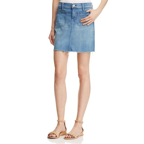 MOTHER Patchie Mini Fray Denim Skirt In Birds Of Paradise
