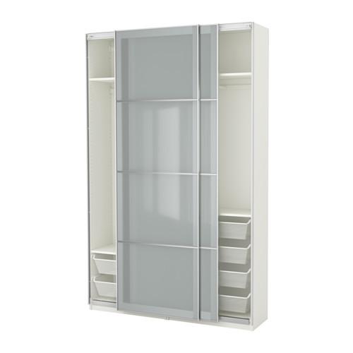 PAX Wardrobe, white, Sekken frosted glass