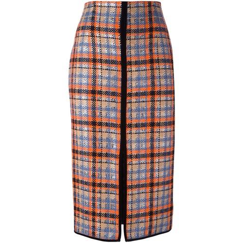 MSGM Front Slit Checked Skirt