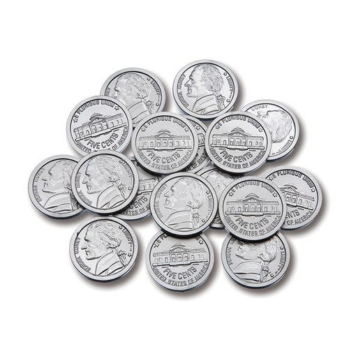LEARNING ADVANTAGE Play Sets Plastic Coins 100 Nickels